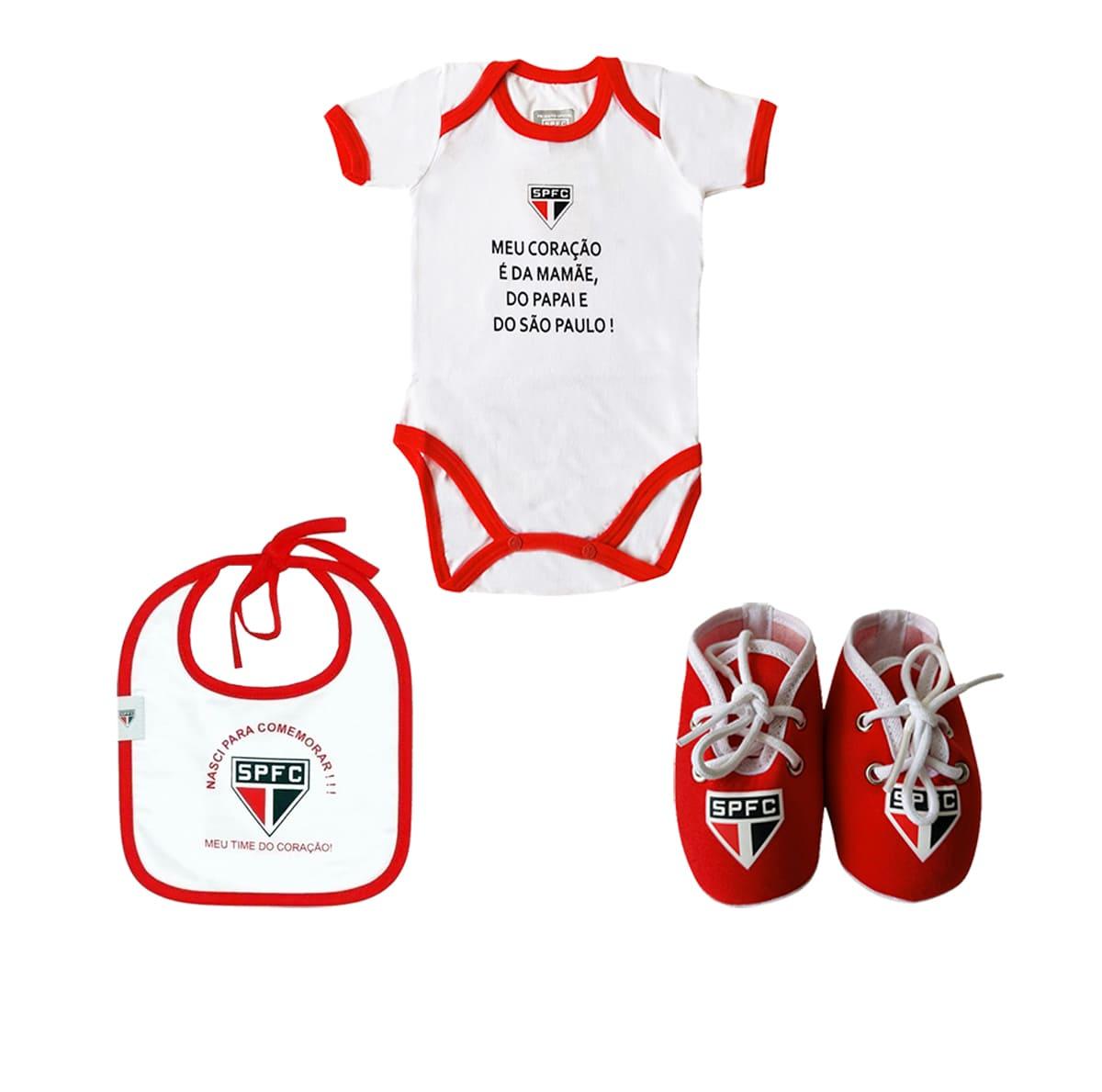Kit São Paulo Bebê Body Babador Chuteira