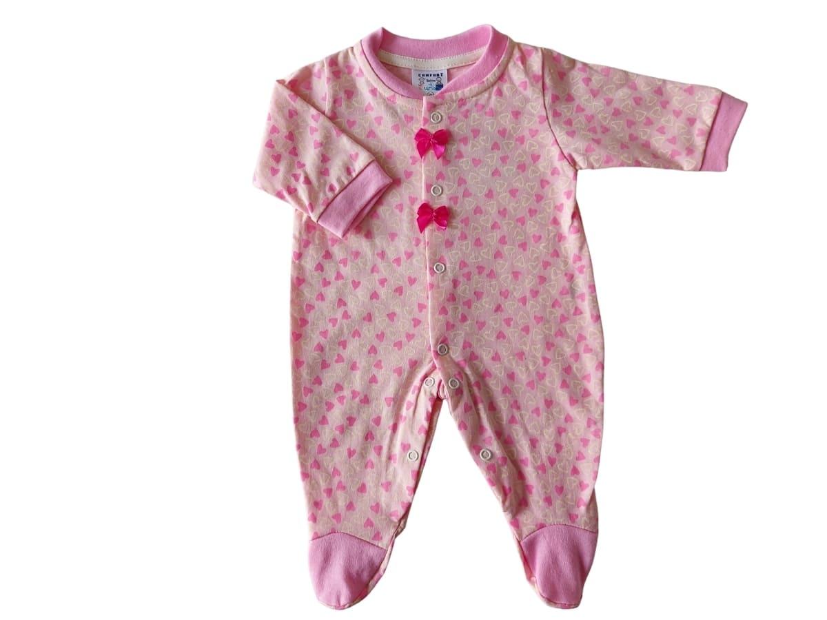 Macacão Bebê Longa Estampa Coração com Laço Rosa