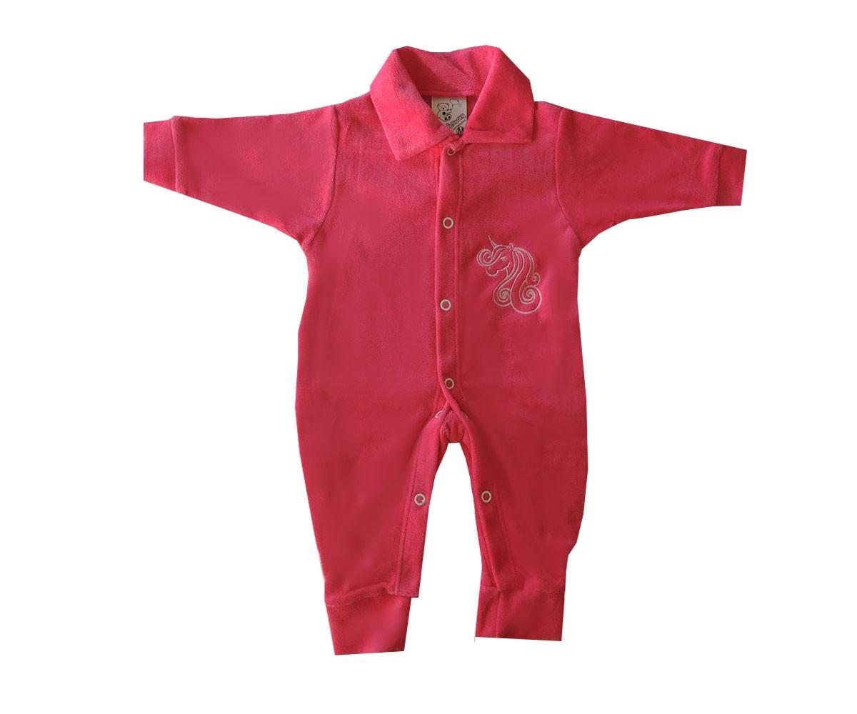 Macacão de Bebê Menina Longo de Plush Bordado