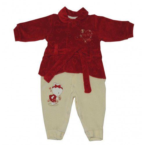 Macacão Feminino Infantil em Plush Vermelho