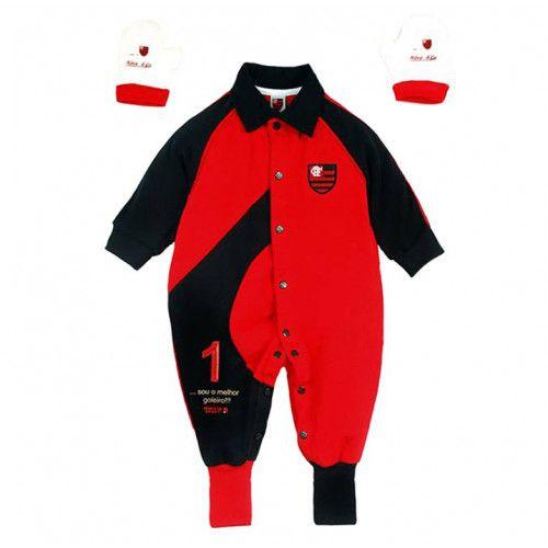 Macacão Goleiro Bebê Flamengo Suedine Menino
