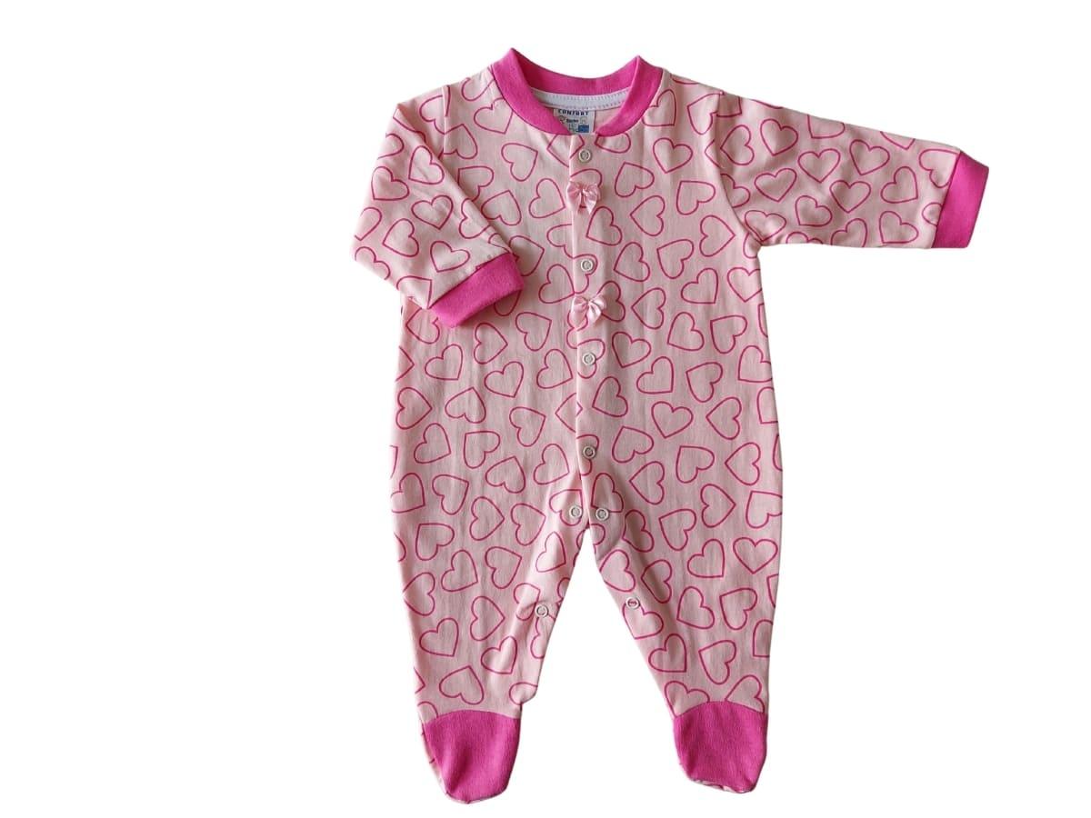 Macacão Infantil Estampa de Coração e Lacinho