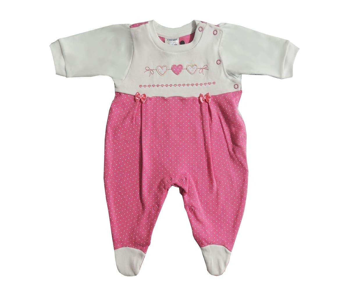 Macacão Longo Bebê Menina Bordado de Coração
