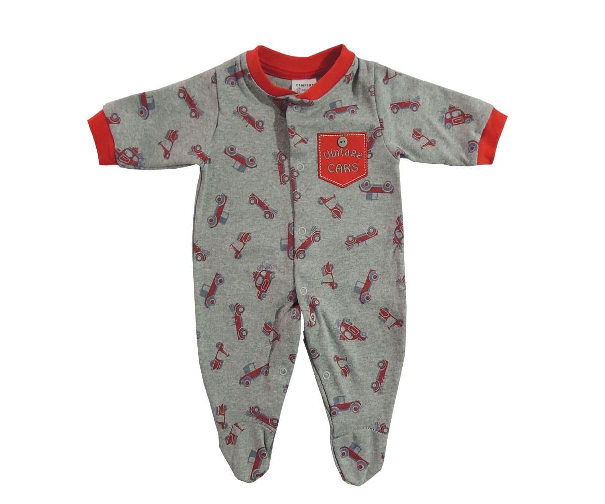 Macacão Longo Bebê Menino Estampa de Carros