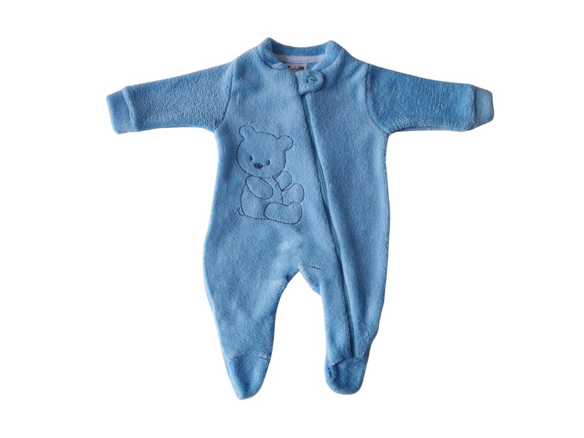 Macacão Para Bebê de Plush Bordado Azul Claro