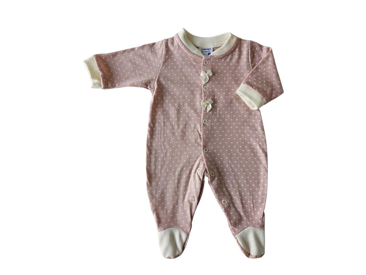Macacão para Bebê Manga Longa Estampa Coração com Laço
