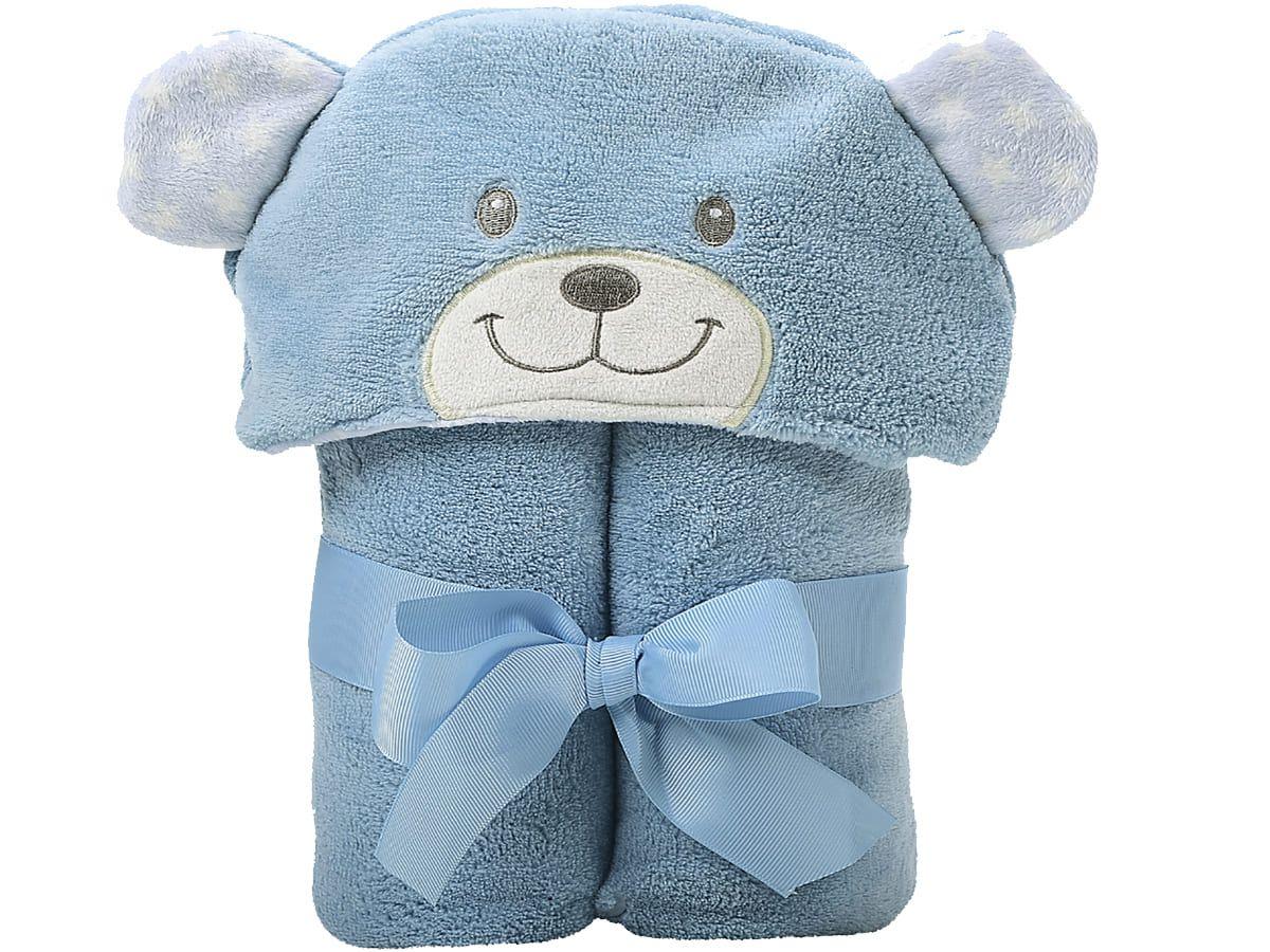 Manta C/Capuz Bichinhos Microfibra Urso Azul