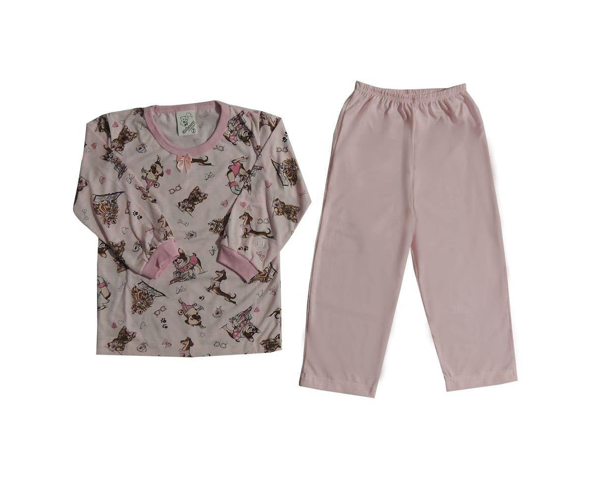 Pijama Infantil Menina em Malha Estampado - tam 1 ao 8