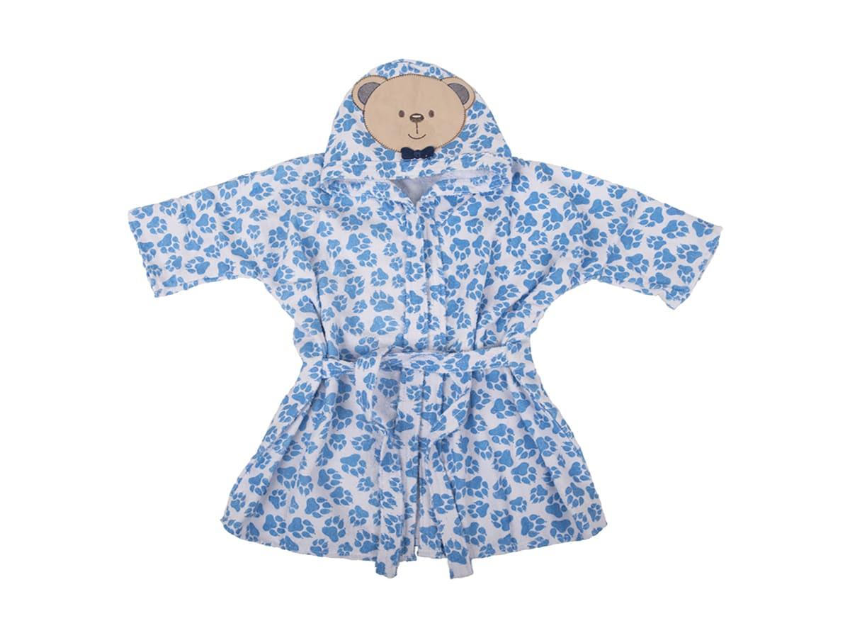 Roupão de Banho Infantil com Capuz Atoalhado - Ursinho Azul- 0 a 3 anos