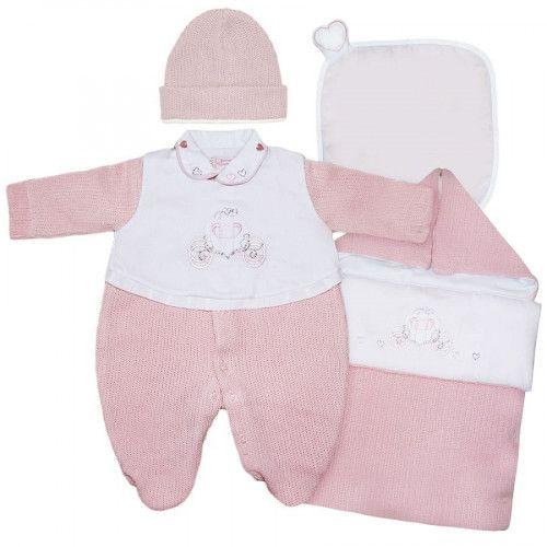Saída Maternidade Carruagem Menina Rosa Bebê