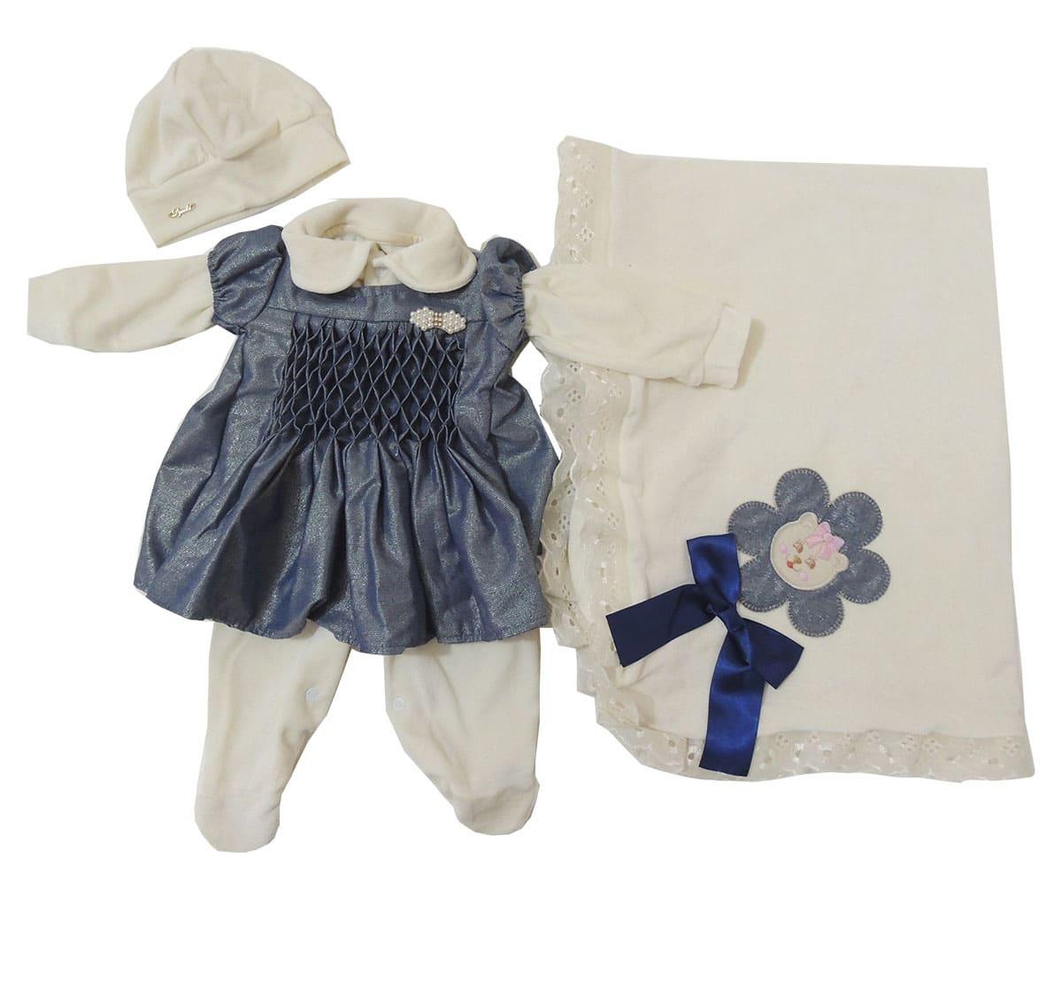 Saida Maternidade Feminina em Plush com Vestido Jeans