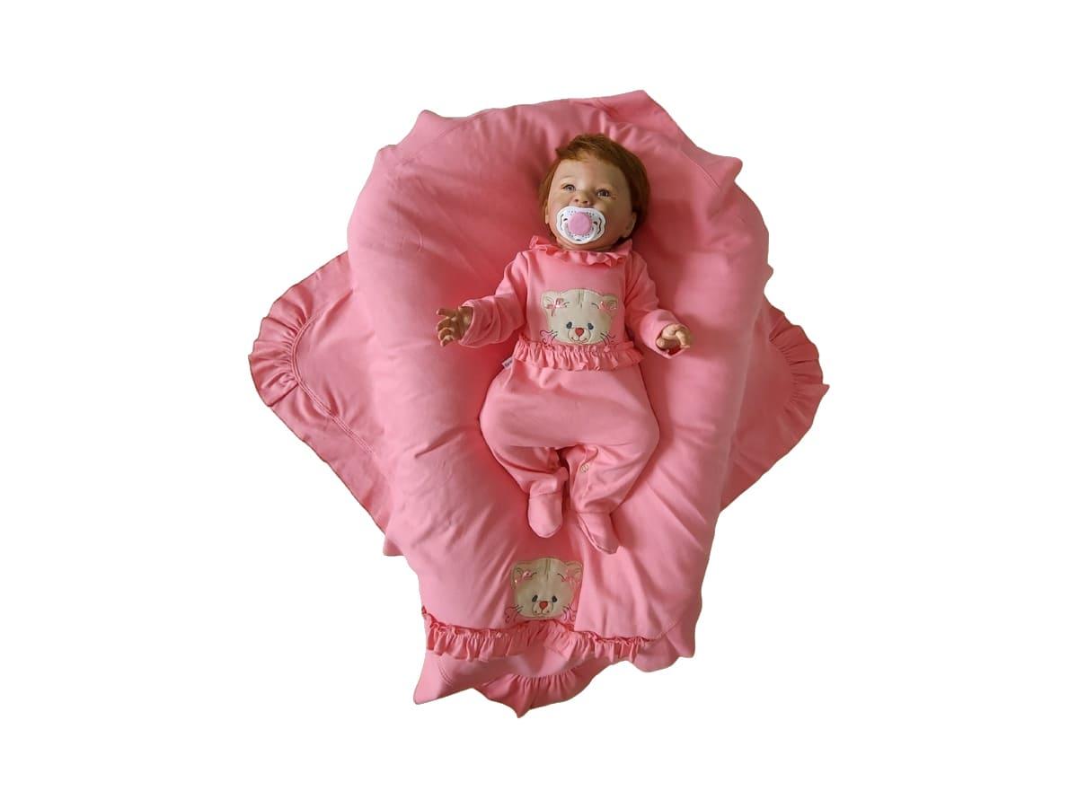 Saída Maternidade Menina Aplique Bordado de Ursinha