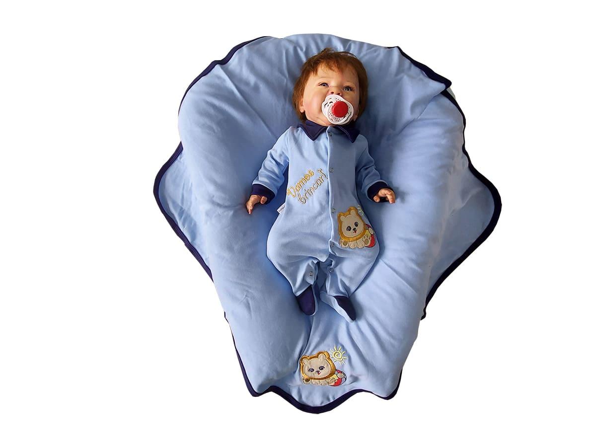 Saída Maternidade Menino Bordado de Leão Azul