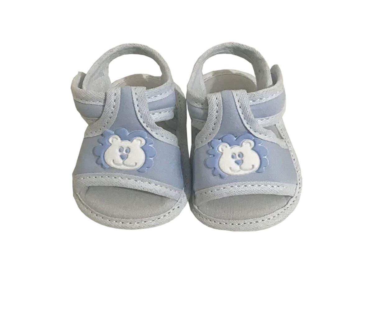 Sandália de Bebê Com Velcro Leão Azul