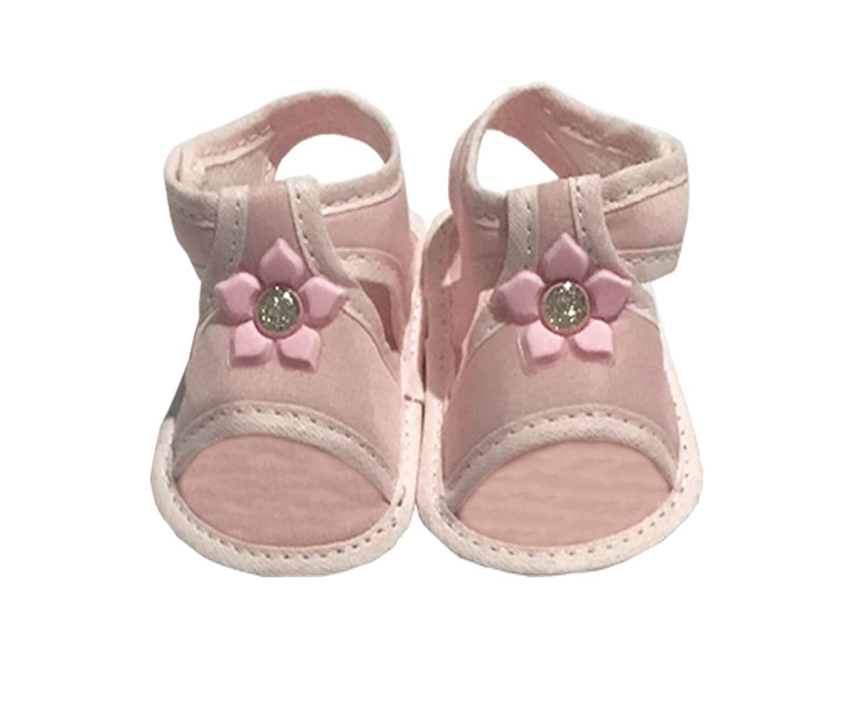 Sandália Para Bebê Aplique de Flor Com Velcro