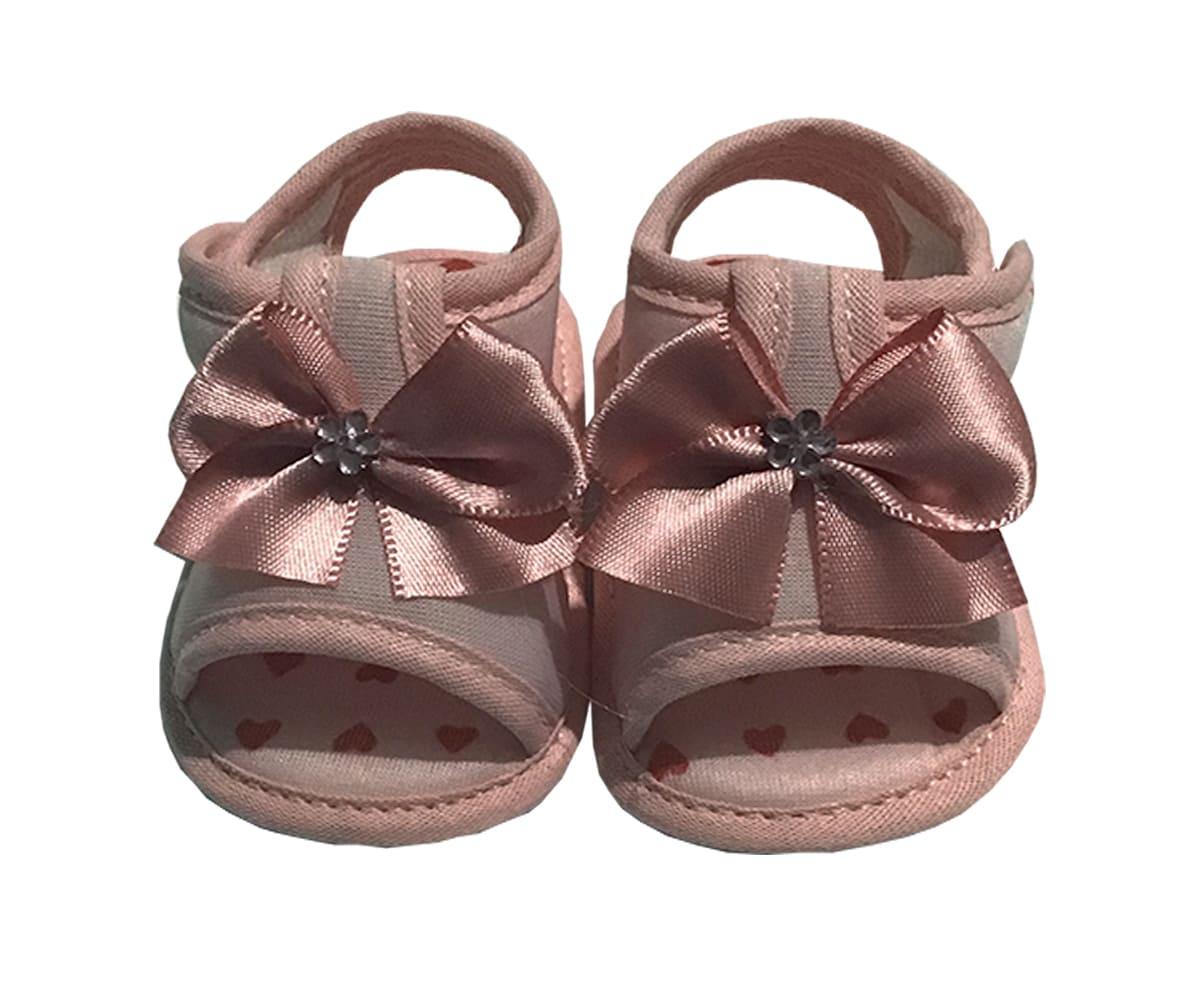 Sandália Para Bebê Com Laço e Florzinha