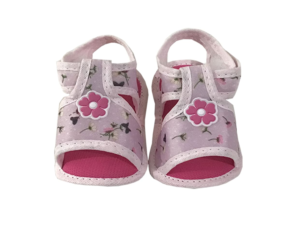 Sandália Para Bebê Estampa Floral Com Velcro