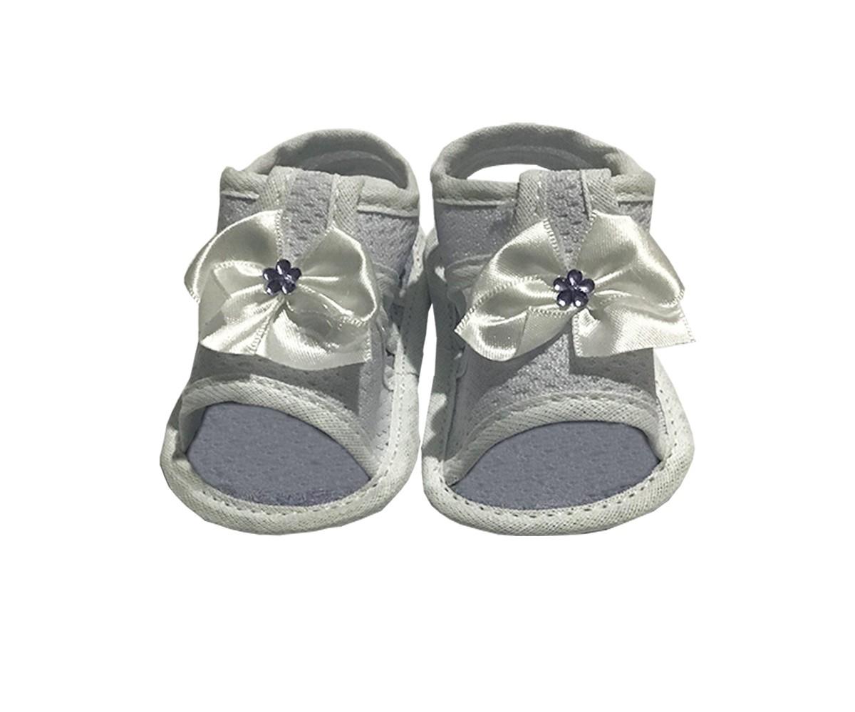 Sandália Para Bebê Menina Com Laço E Flor