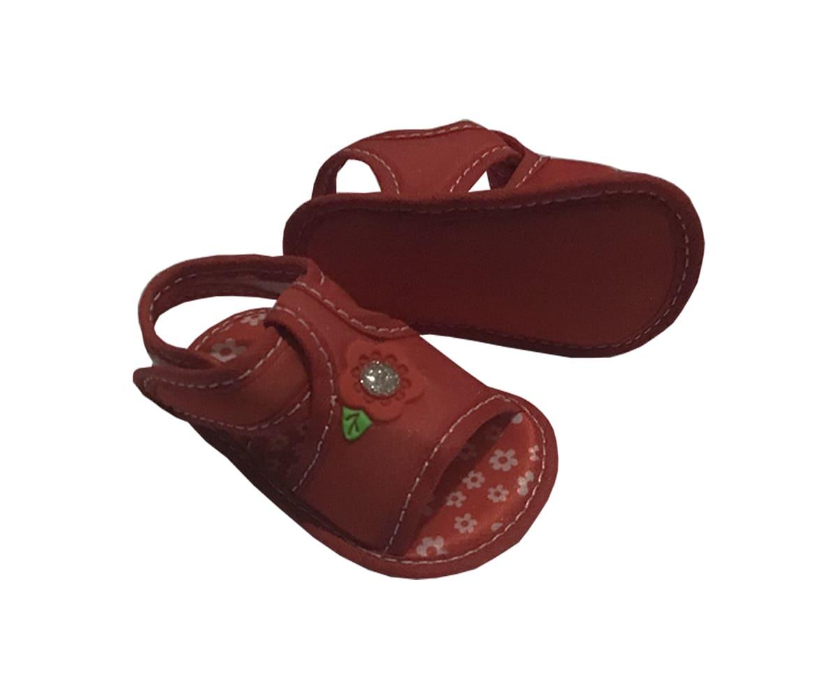Sandália Para Bebê Vermelha Com Flor