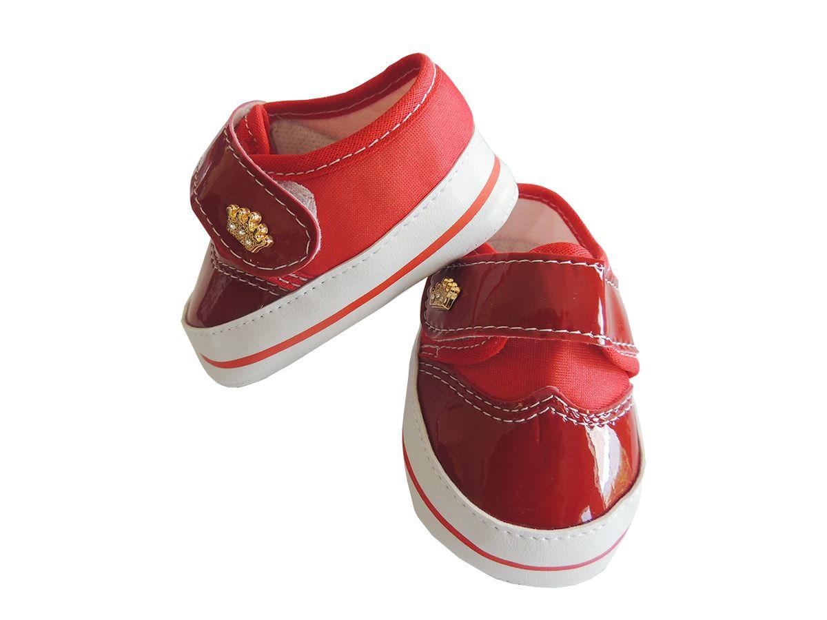 Tênis Bebê Menina Coroa Vermelho