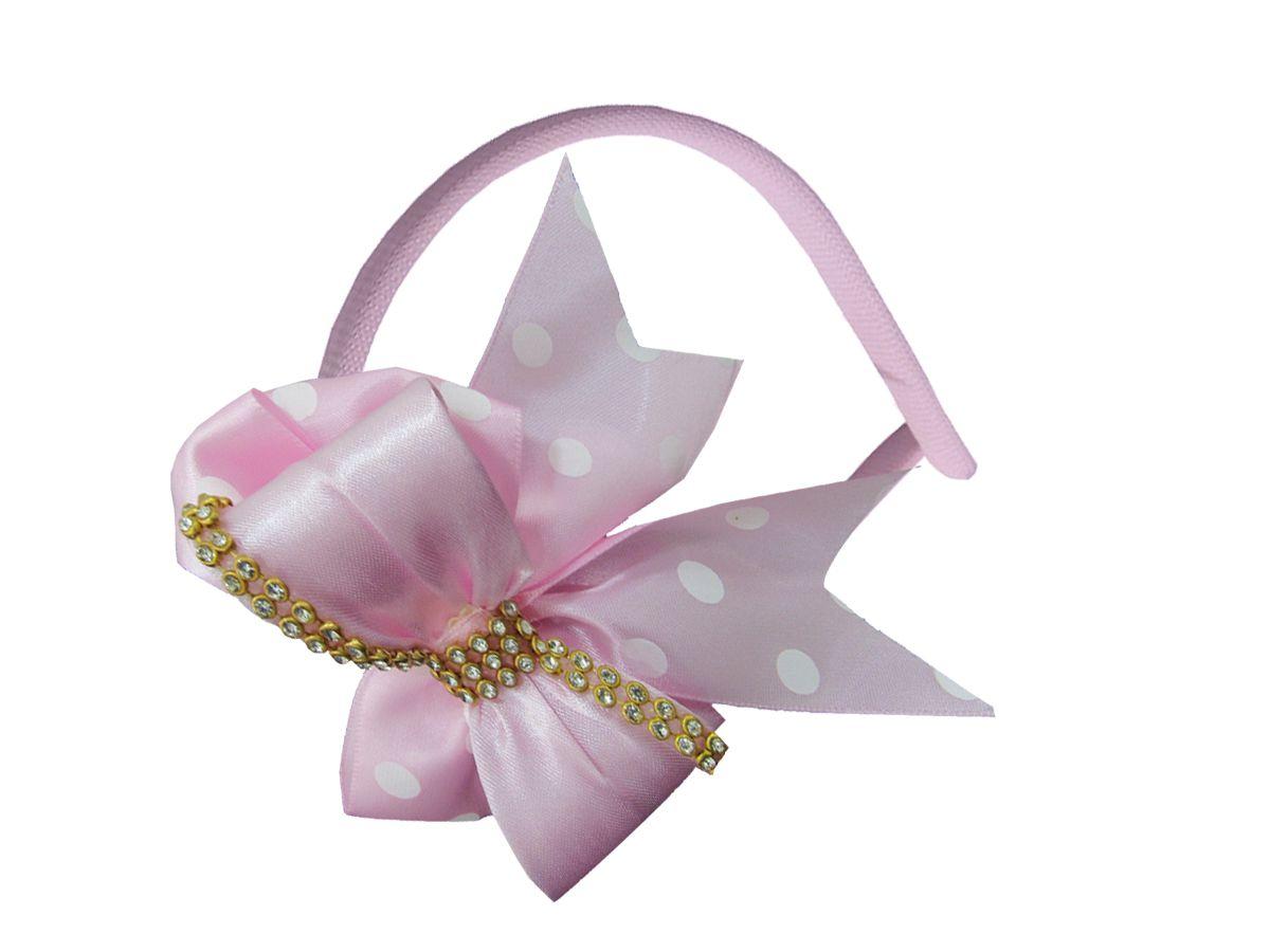 Tiara de Cabelo Para Bebê Rosa Com Bolinhas Brancas