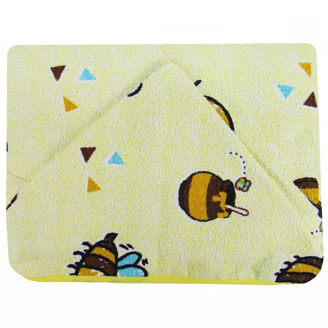 Toalha de Banho Infantil Capuz Forrada - Abelhinha - Amarela