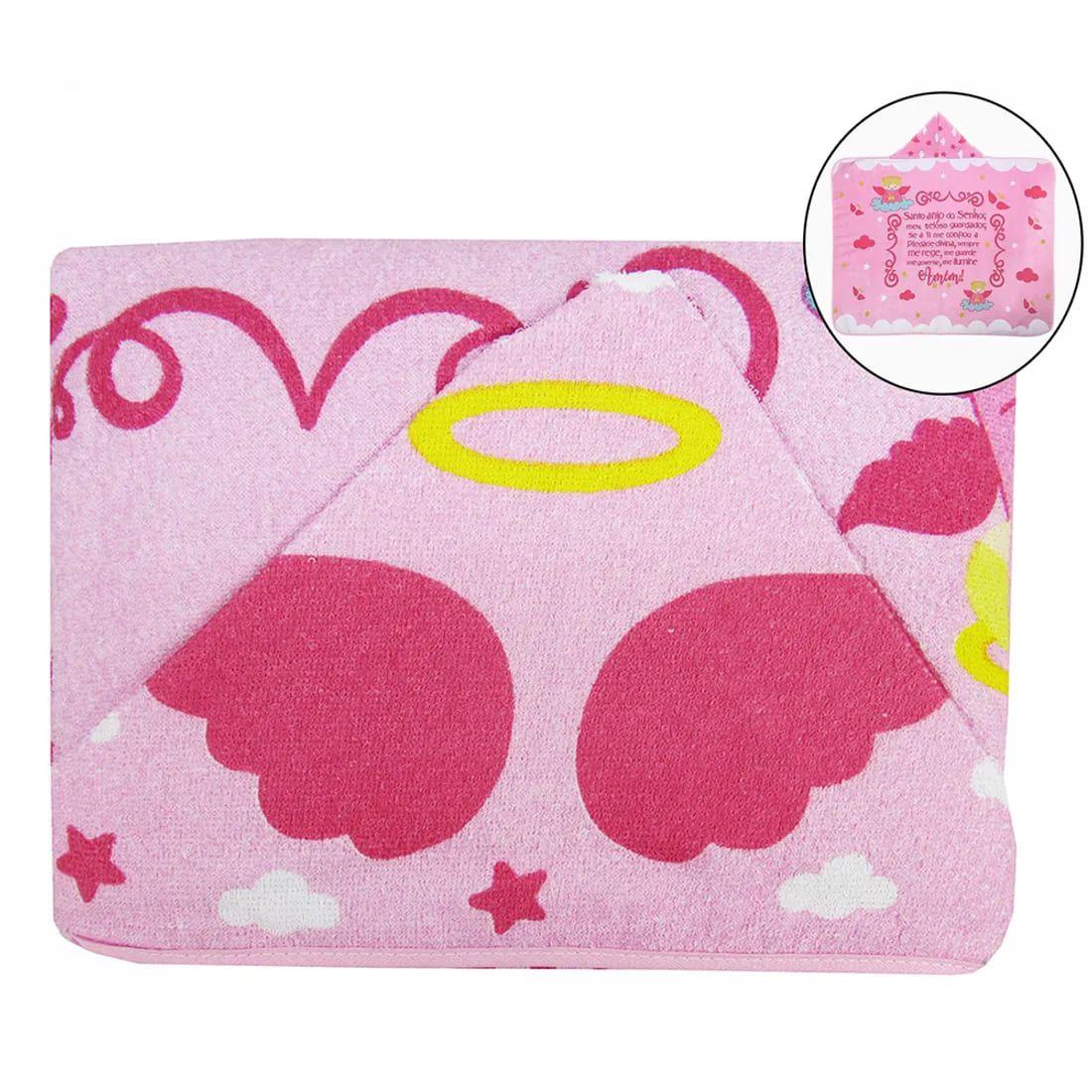 Toalha de Banho Infantil com Capuz Anjinho da Guarda - Rosa