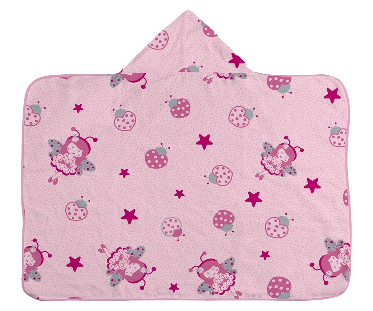 Toalha de Banho Infantil com Capuz  - Fada - Rosa
