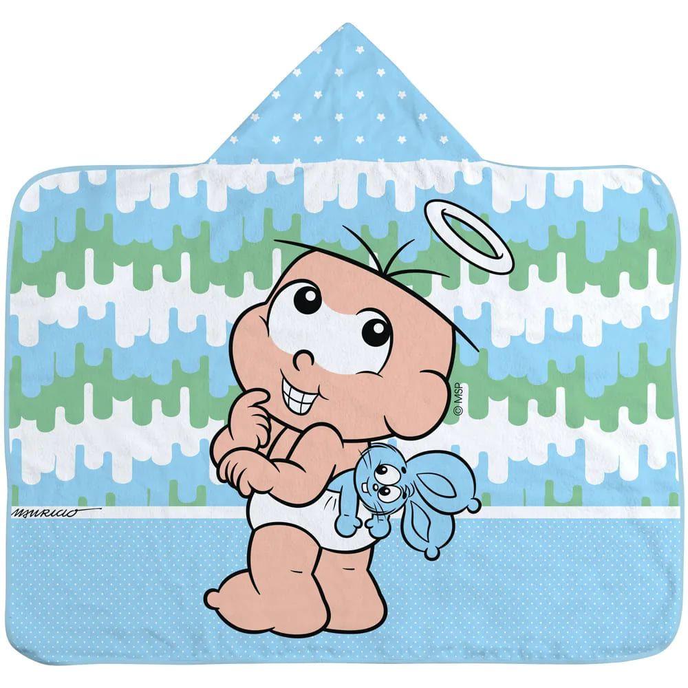 Toalha de Banho Menino-Turma da  Monica Baby com Capuz - Azul