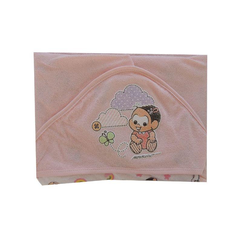 Toalha de Plush com Capuz Turma da Mônica Rosa