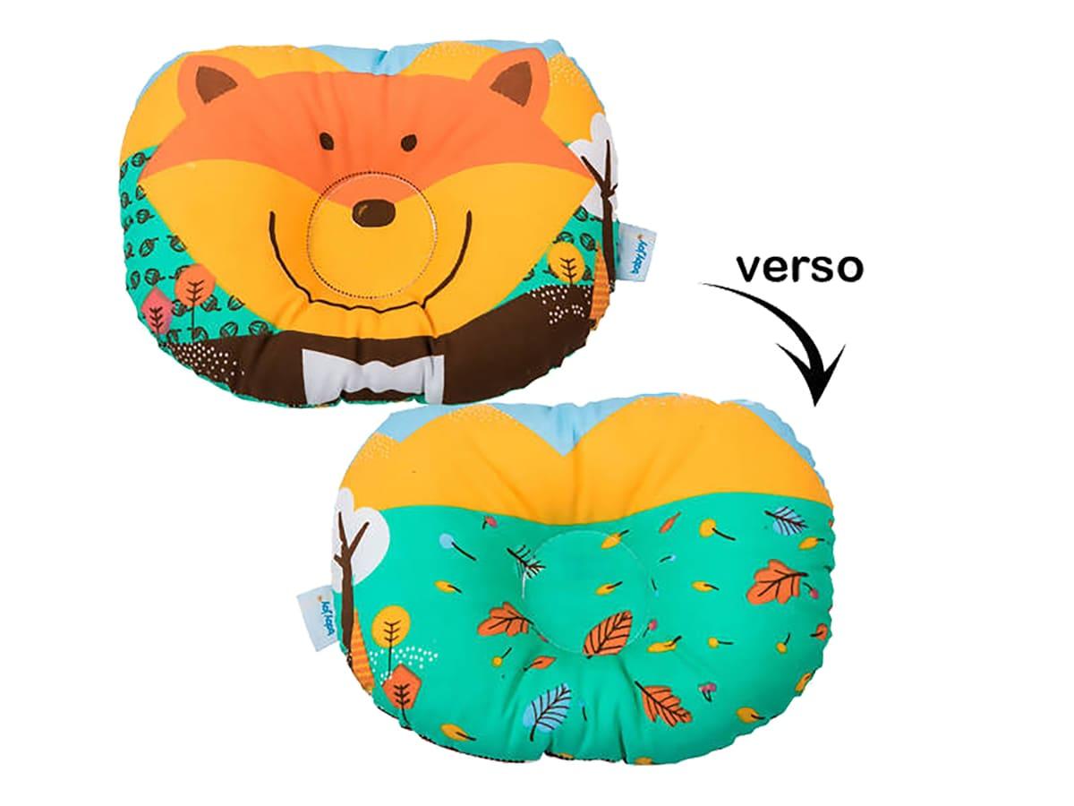 Travesseiro Anatômico Bebê com Estampa de Raposa - Azul