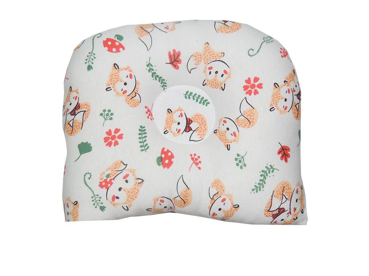 Travesseiro Anatômico para Bebê Estampa Raposas