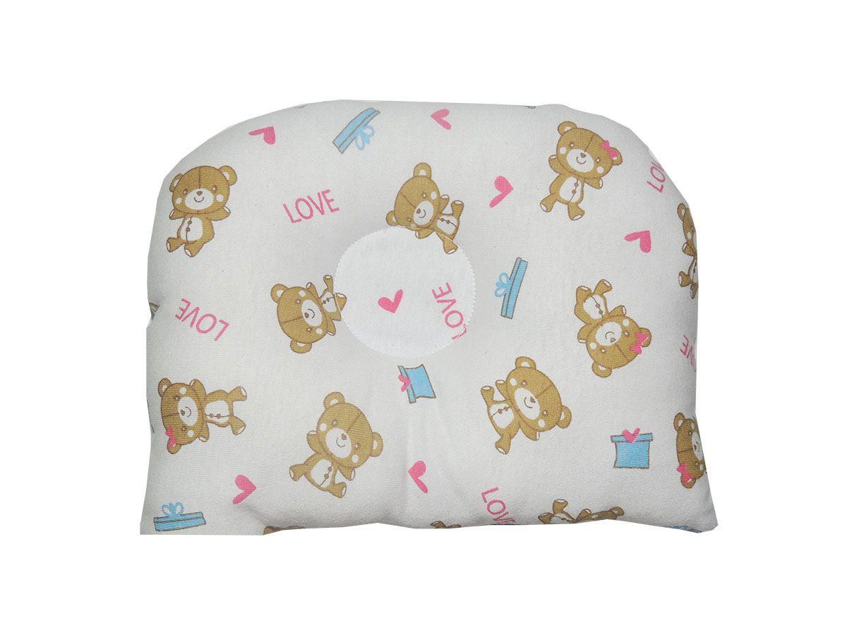 Travesseiro Anatômico para Bebê Estampa Ursinhos