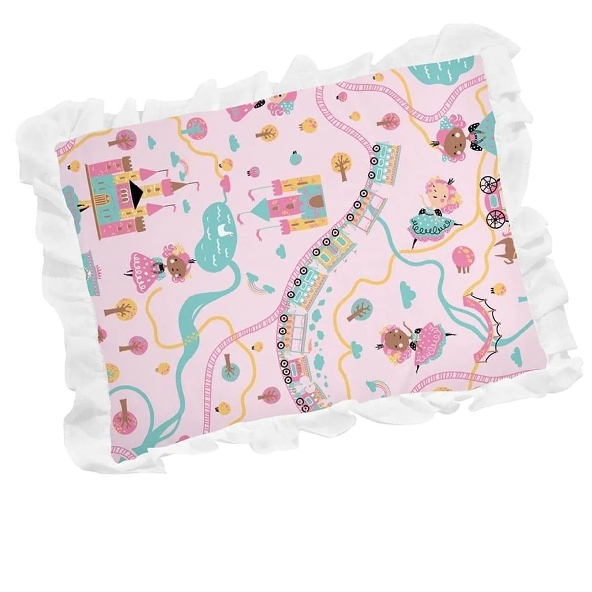 Travesseiro Estampa de Castelo Rosa com Babado