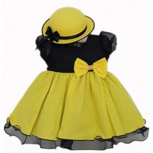 Vestido Abelhinha com Chapéu - Tam 1 ao 3