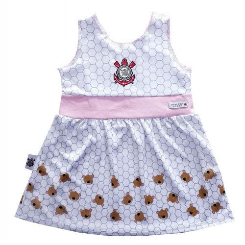 Vestido Bebê Corinthians Estampa de Ursinho