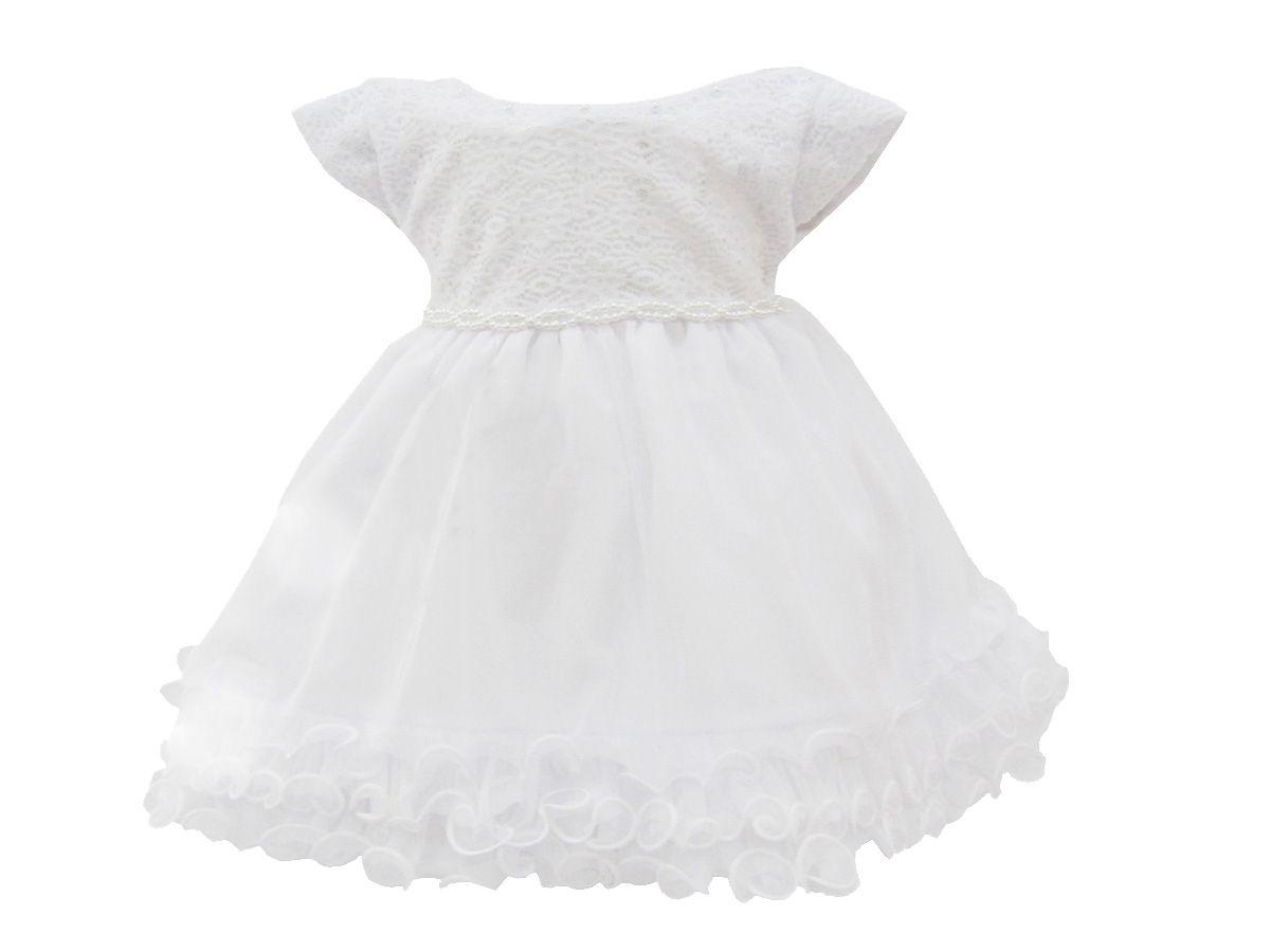 Vestido Bebê Luxo Batizado- P ao G