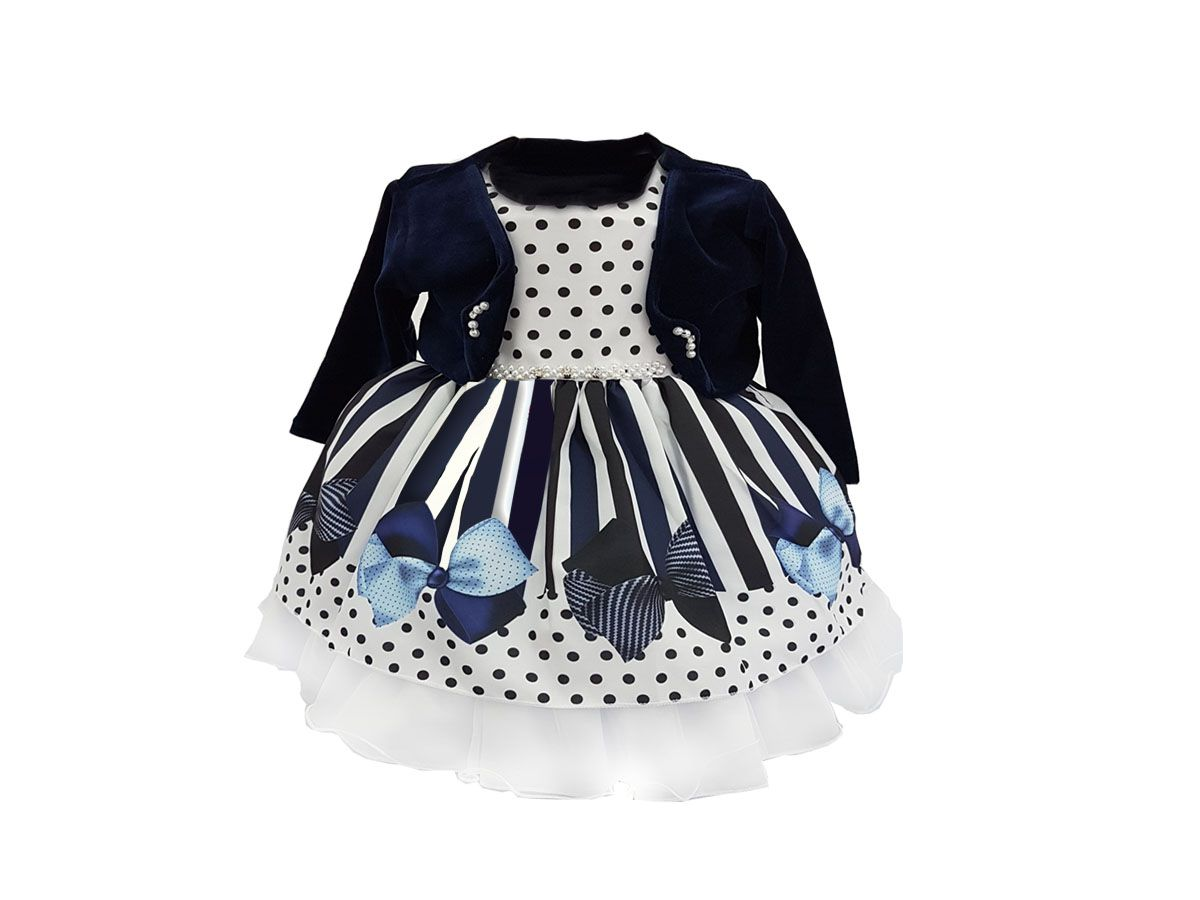 Vestido Bebê Manga Curta com Bolero Lacinhos Azul