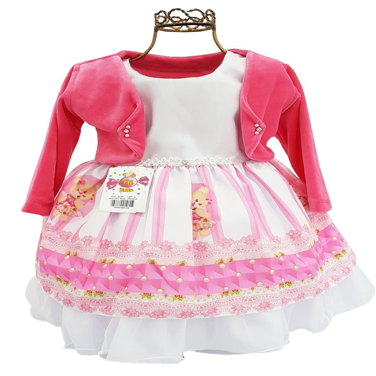 Vestido Bebê Manga Curta com Bolero Ursinha