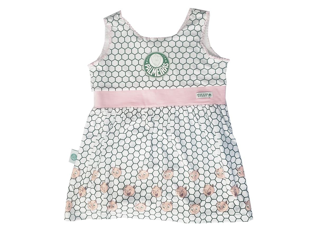 Vestido Bebê Palmeiras Estampa de Porquinhos