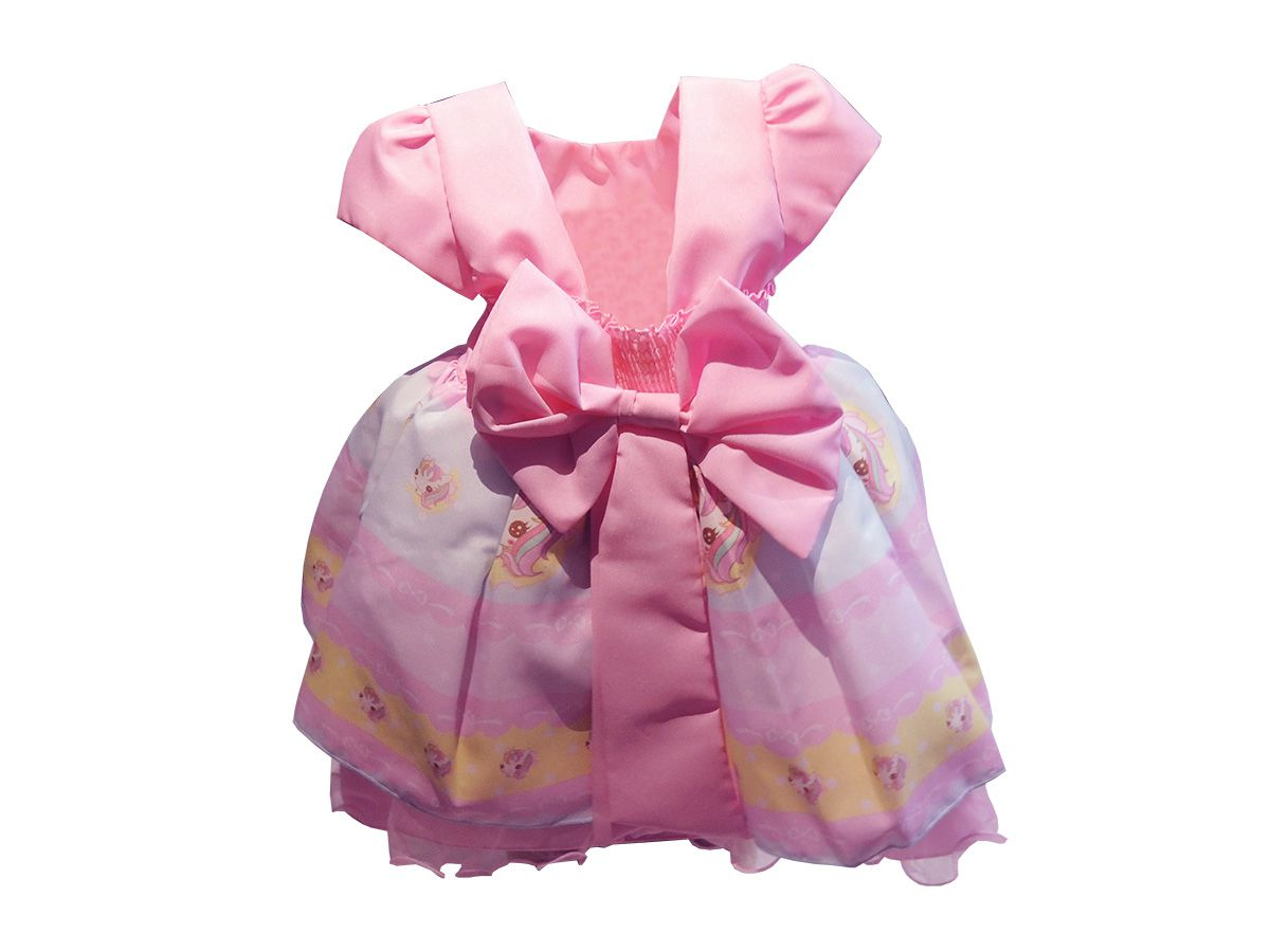 Vestido Bebê Rosa com Estampa de Unicórnio