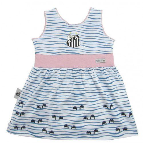 Vestido Bebê Santos com Estampa do Mascote Baleia