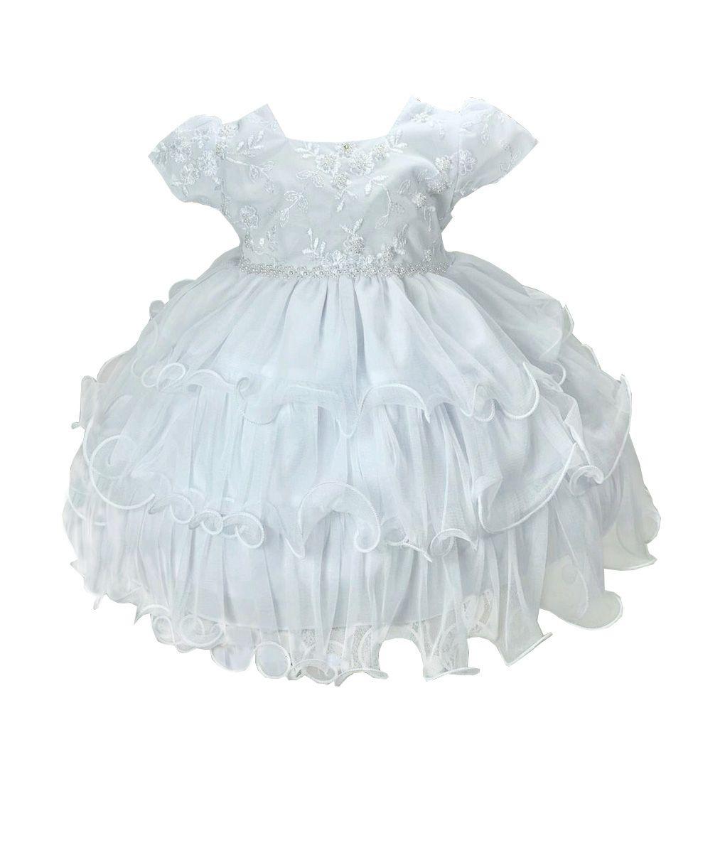 Vestido Branco Pérolas e Bordados - Tam P ao G
