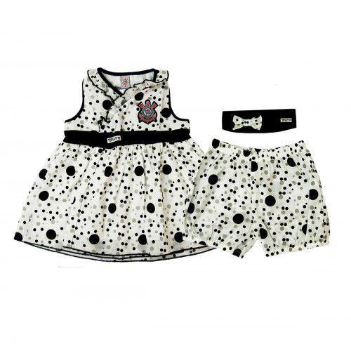 Vestido com Shorts e Tiara Infantil do Corinthians