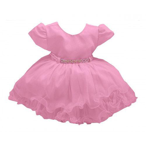 Vestido de Bebê Rosa com Brilho Menina Bonita