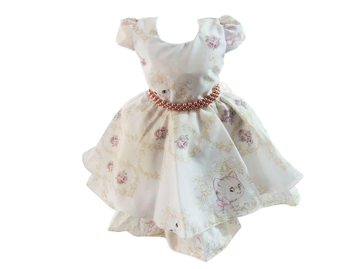 Vestido de Festa Gatinha Charmosa-Tam 1 ao 3
