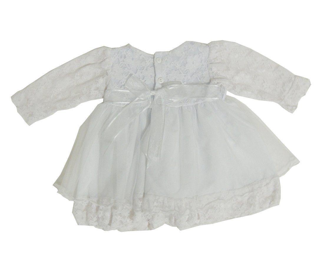 Vestido Infantil Branco com Laço e Sapatinho
