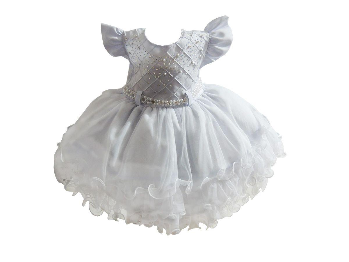 Vestido Infantil Branco Pérolas - Tam 1 ao 3