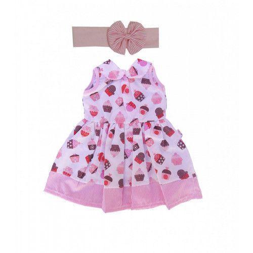 Vestido infantil com Estampa de Cupcake com Tiara
