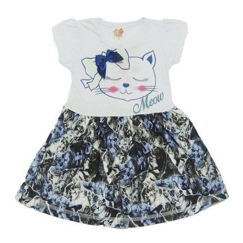 Vestido Infantil com Estampa Gatinha